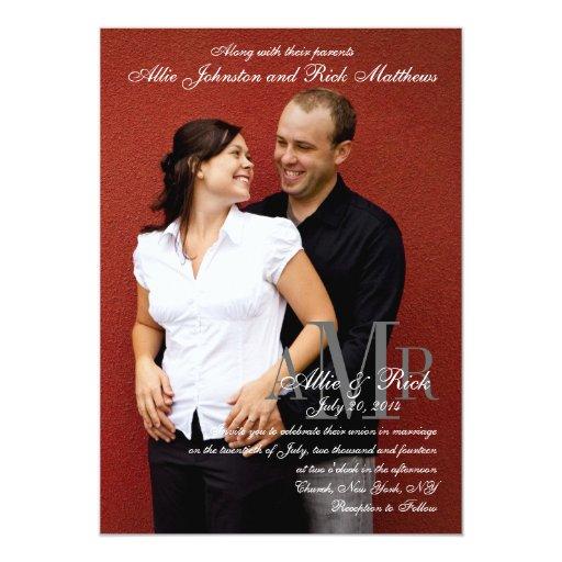 "Engagement Photo Modern Wedding Invitations 5"" X 7"" Invitation Card"