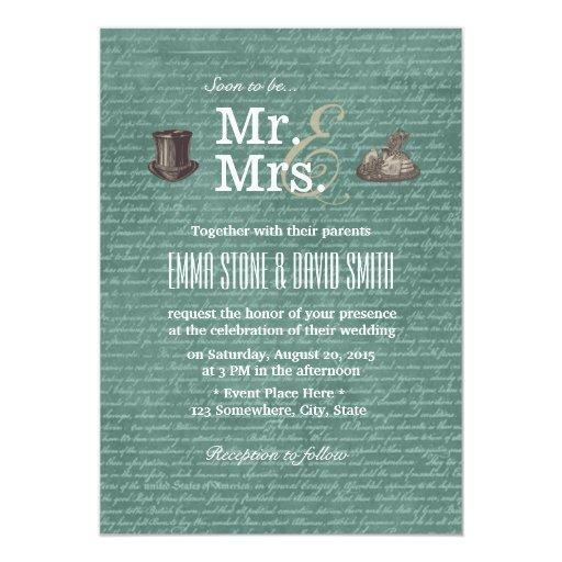"Vintage Chalkboard Mr. & Mrs. Wedding Invitations 5"" X 7"" Invitation Ca..."