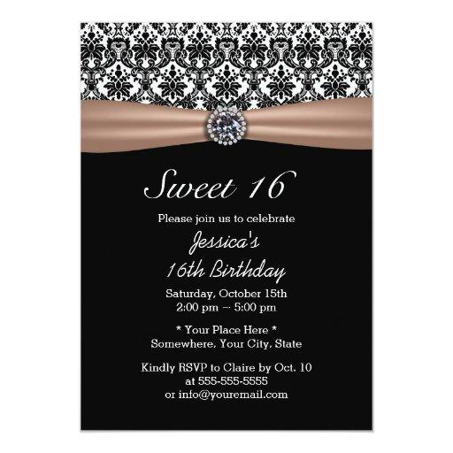 Classy Ribbon & Damask Diamond Sweet 16 5x7 Paper Invitation Card