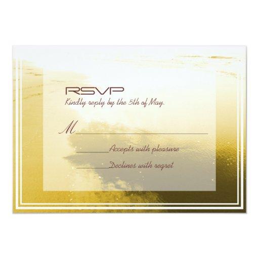 "SImple Frame Golden Beach Wedding RSVP Card 5"" X 7"" Invitation Card"