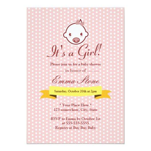 "Pink Polka Dots Baby Girl Baby Shower Invitations 5"" X 7"" Invitation Card"