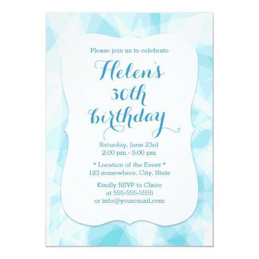 Abstract Blue Crystal Birthday 5x7 Paper Invitation Card