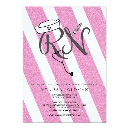 """FUN MODERN RN graduation invites hot pink glitter 5"""" X 7"""" Invitation Card"""