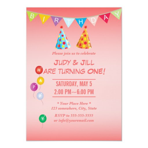 """Coral Pink Twin Girls Birthday Party Invitations 5"""" X 7"""" Invitation Card"""