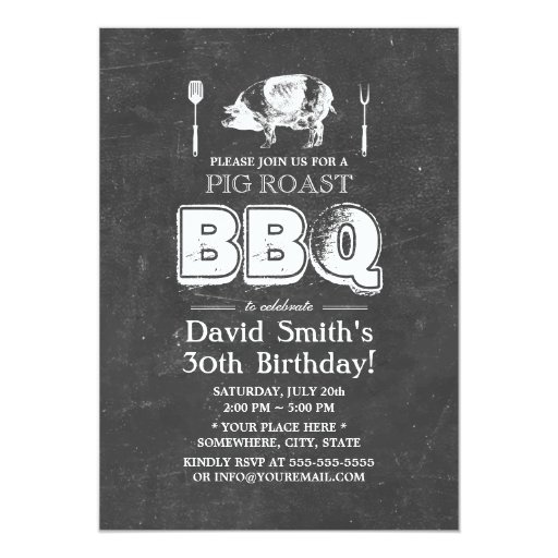 Vintage Chalkboard Pig Roast BBQ Birthday Party 5x7 Paper Invitation Card (front side)