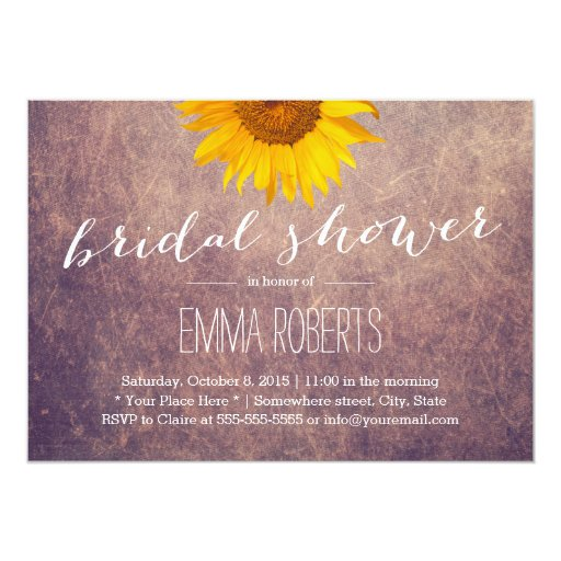Classy Grunge Sunflower Bridal Shower 5x7 Paper Invitation Card