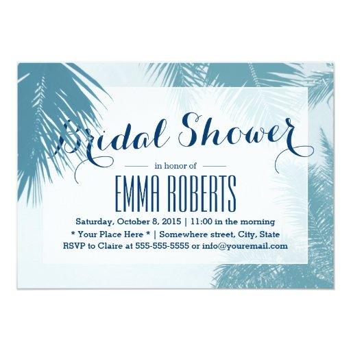 Teal Blue Palm Tree Beach Bridal Shower 5x7 Paper Invitation Card