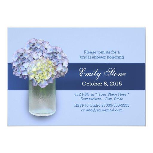 Baby Blue Hydrangea Mason Jar Bridal Shower 5x7 Paper Invitation Card