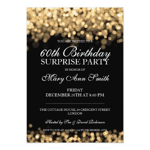 Elegant Surprise Birthday Party Gold Lights 5x7 Paper Invitation Card (front side)