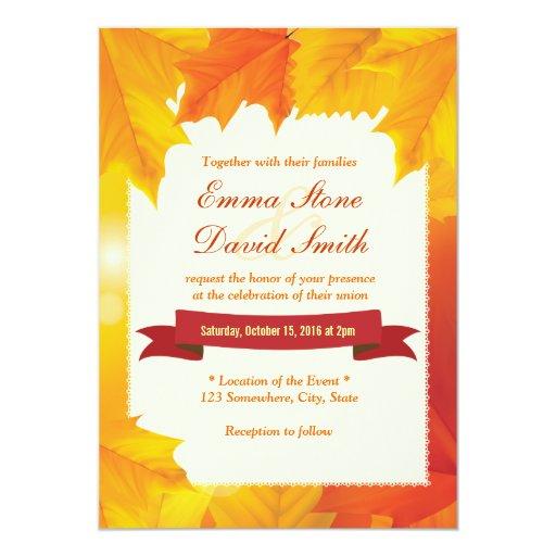 "Elegant Maple Leaves Fall Wedding Invitations 5"" X 7"" Invitation Card"