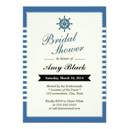 "Nautical Blue Stripes Bridal Shower Invitations 5"" X 7"" Invitation Card"