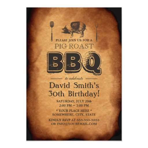 Vintage Old Paper Pig Roast BBQ Birthday Party 5x7 Paper Invitation Card (front side)