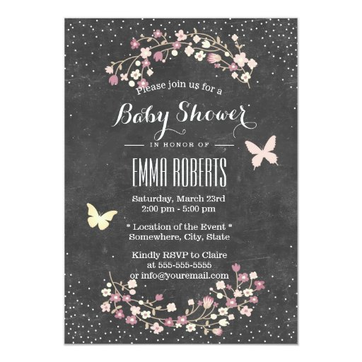 Vintage Chalkboard Butterfly & Flowers Baby Shower 5x7 Paper Invitation Card