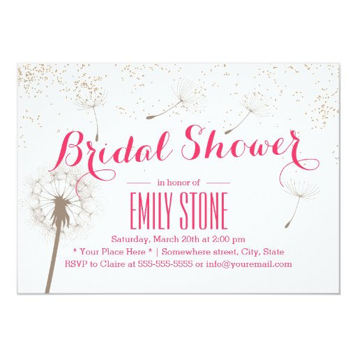 "Stylish Dandelion Blowing Bridal Shower Invitation 5"" X 7"" Invitation Card"