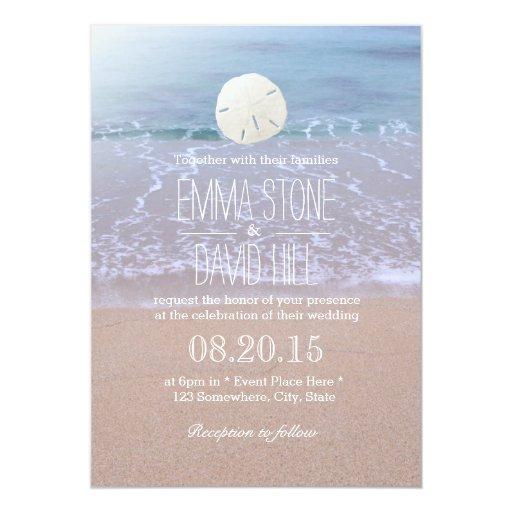 "Elegant Sand Dollar Beach Wedding Invitations 5"" X 7"" Invitation Card"