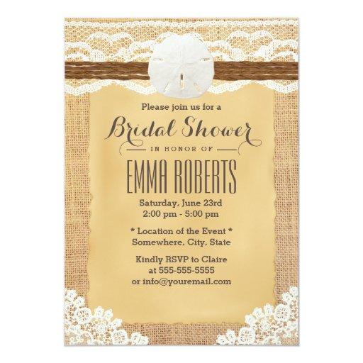Rustic Sand Dollar & Twine Burlap Bridal Shower 5x7 Paper Invitation Card
