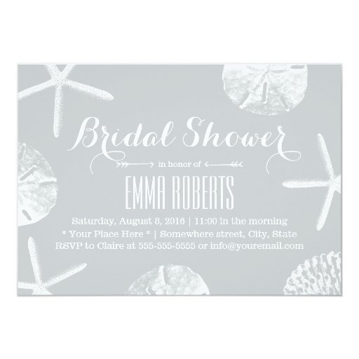 Modern Silver Beach Theme Seashells Bridal Shower 5x7 Paper Invitation Card