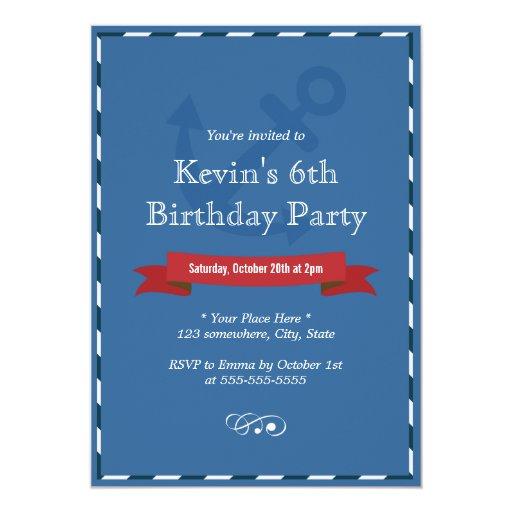 "Nautical Border Navy Blue Birthday Invitations 5"" X 7"" Invitation Card"