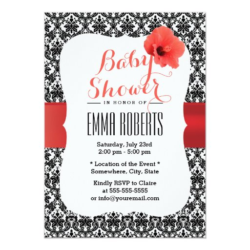 """Classy Damask Red Hibiscus Baby Shower Invitations 5"""" X 7"""" Invitation Card"""