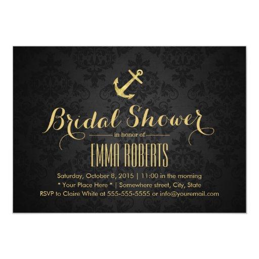 Classy Dark Damask Gold Anchor Bridal Shower 5x7 Paper Invitation Card