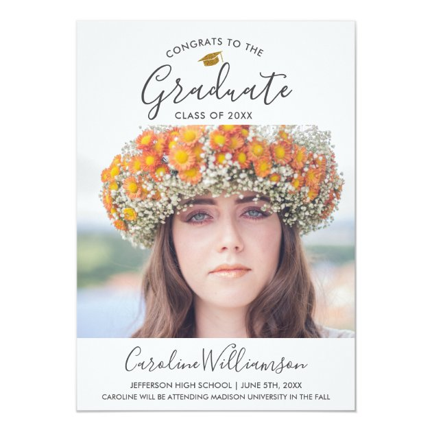 Grad Photo Graduation Announcement Gold Grad Cap