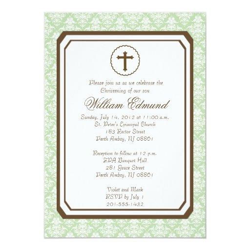 "Neutral Elegant Christening Invitation - Green 5"" X 7"" Invitation Card"