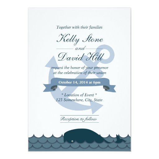 "Nautical Anchor & Blue Whale Wedding Invitations 5"" X 7"" Invitation Car..."