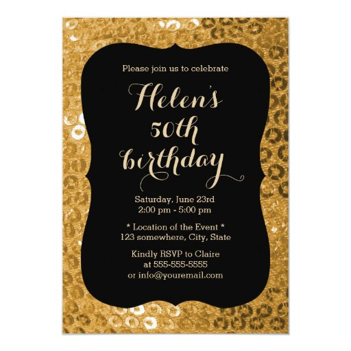 Luxury Black & Gold Paillettes Birthday Party 5x7 Paper Invitation Card