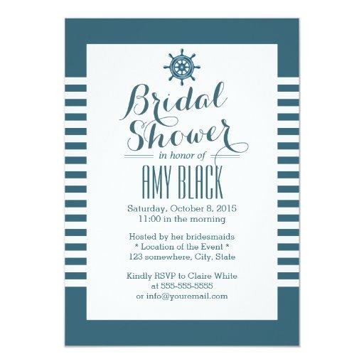 Nautical Rudder Blue Stripes Bridal Shower 5x7 Paper Invitation Card