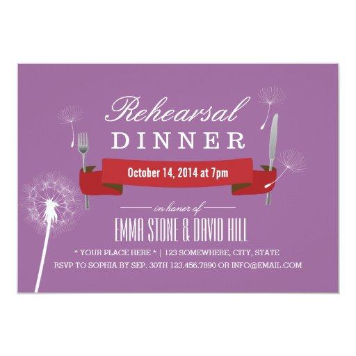 Classy Violet Dandelion Rehearsal Dinner 5x7 Paper Invitation Card