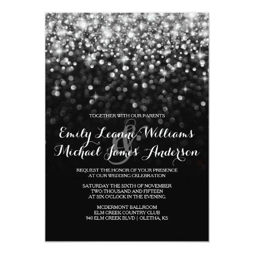"""Silver GlitHollywood Glitz Glam Wedding Invitation 5"""" X 7"""" Invitation Card"""