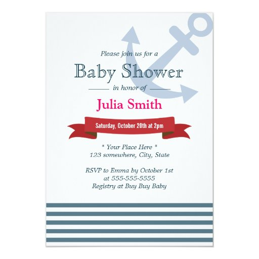 "Nautical Blue Stripes Baby Shower Invitations 5"" X 7"" Invitation Card"