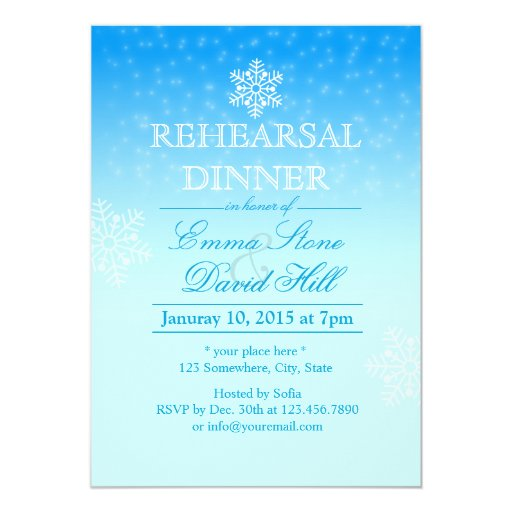 Elegant Snowflakes Winter Wedding Rehearsal Dinner 5x7 Paper Invitation Card