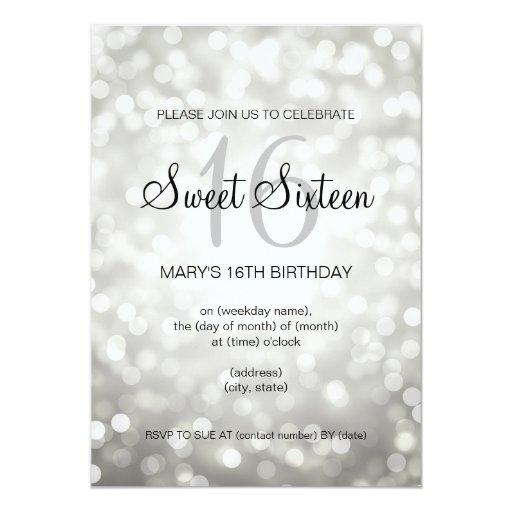 Elegant Sweet 16 Birthday Silver Glitter Lights 5x7 Paper Invitation Card