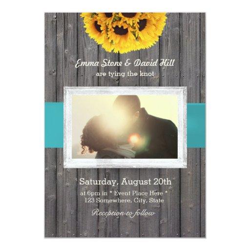 Rustic Barn Wood Custom Photo Sunflower Wedding 5x7 Paper Invitation Card