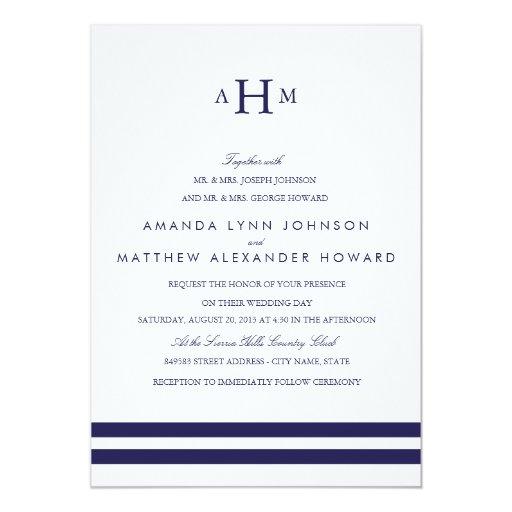 "Navy Monogram Wedding Invitation 5"" X 7"" Invitation Card"