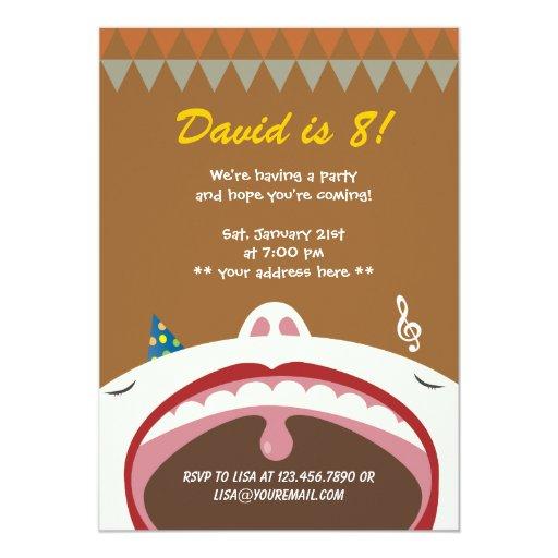 "Happy Singing Kid Birthday Party Invitation 5"" X 7"" Invitation Card"