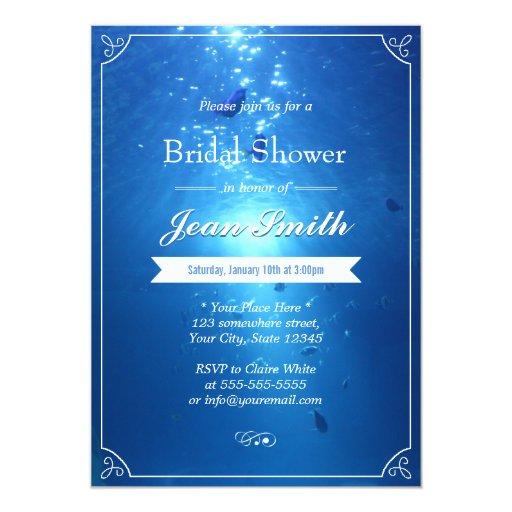 "Stylish Undersea Blue Bridal Shower Invitations 5"" X 7"" Invitation Card"
