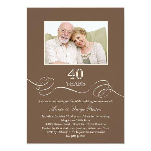 "Elegant Swirl Anniversary Photo Invitation 5"" X 7"" Invitation Card"