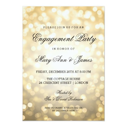 Gold Bokeh Lights Elegant Engagement Party 5x7 Paper Invitation Card