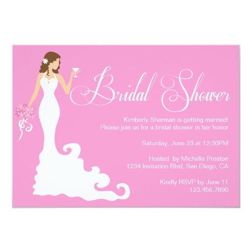 """Chic Pink Modern Bride Posh Bridal Shower Invite 5"""" X 7"""" Invitation Card"""