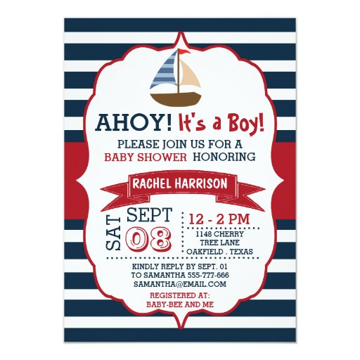"Ahoy It's A Boy! Nautical Boat Baby Shower Invites 5"" X 7"" Invitation C..."