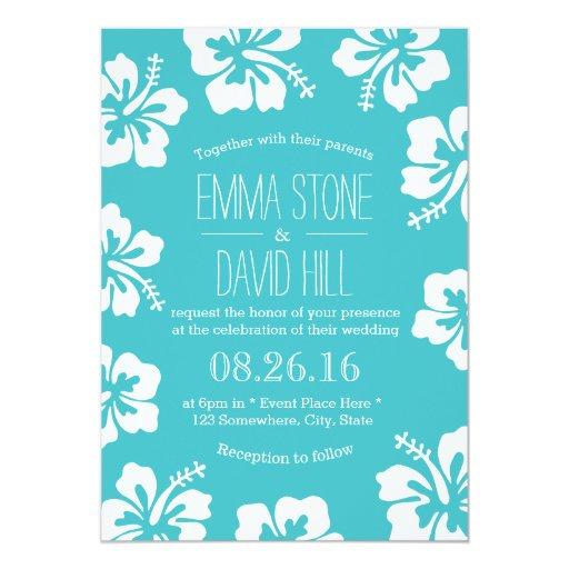 Classy Hibiscus Flowers Turquoise Wedding 5x7 Paper Invitation Card