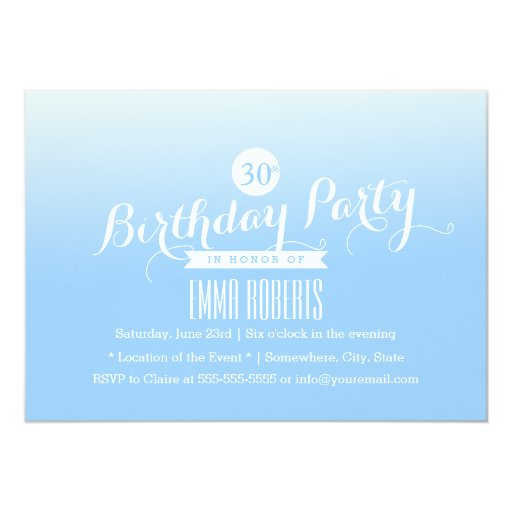 "Pastel Blue 30th Birthday Party Invitations 5"" X 7"" Invitation Card"