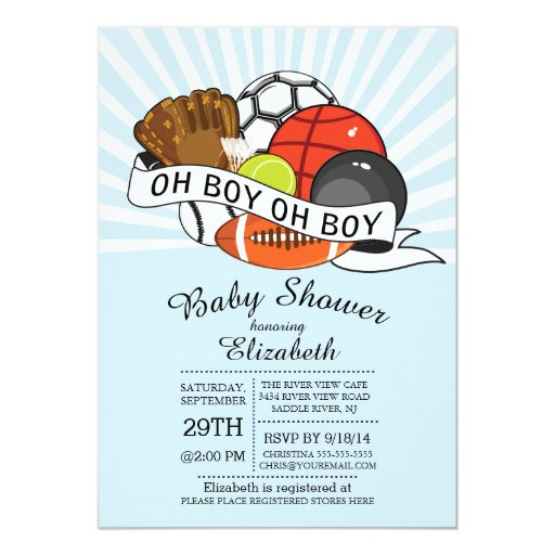 Modern Oh Boy Sports Boys Baby Shower 5x7 Paper Invitation Card