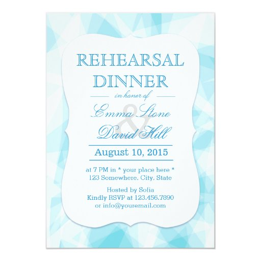 Abstract Blue Crystal Rehearsal Dinner 5x7 Paper Invitation Card