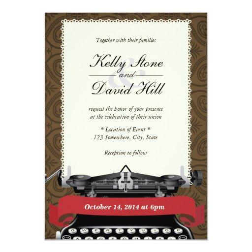 "Vintage Lace Typewriter Damask Wedding Invitations 5"" X 7"" Invitation Card"