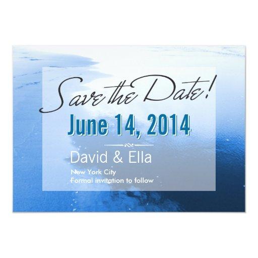 "Dream Blue Beach Save the Date Announcement 5"" X 7"" Invitation Card"