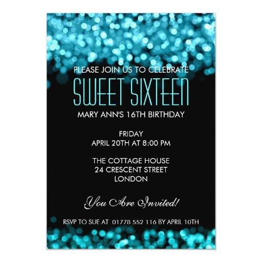 Elegant Sweet Sixteen Sparkling Lights Blue 5x7 Paper Invitation Card