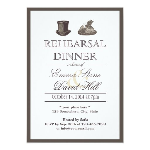 Vintage Border Mr. and Mrs. Hats Rehearsal Dinner 5x7 Paper Invitation Card